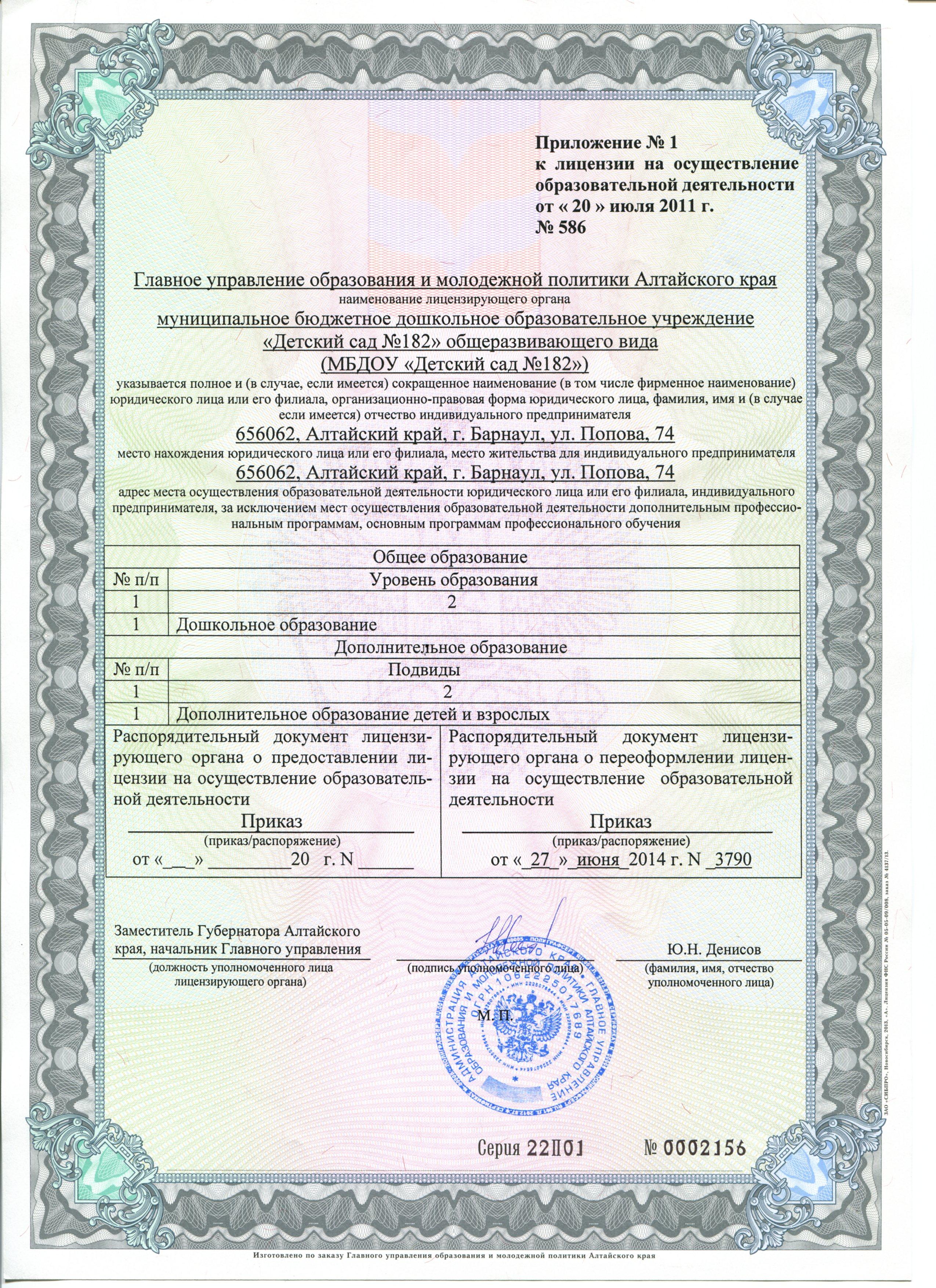 приложение к лицензии (1)